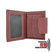 Peňaženky - Ochranná dámska kožená peňaženka v červenej farbe - 10369419_