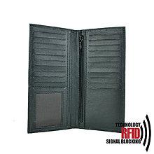 Tašky - Ochranná unisex kožená peňaženka - dokladovka v čiernej farbe - 10369593_