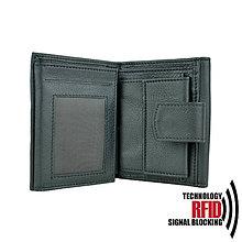 Peňaženky - Ochranná dámska kožená peňaženka v čiernej farbe - 10369708_