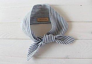 Šatky - Mini ľanová šatka - Sailor - 10367855_