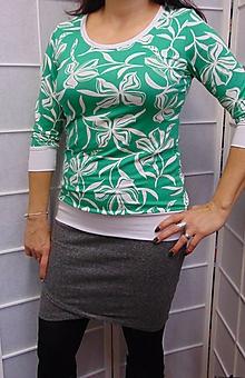 Tričká - Tričko květy na zelené S - XXXL - 10370330_