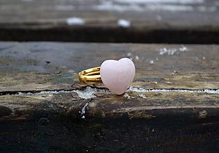 Prstene - Srdce Ruženín pozlátený prsteň zo striebra - 10367722_