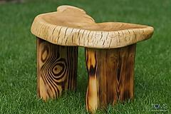 Nábytok - Opaľovaná masívna taburetka - 10370390_
