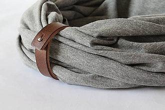 Doplnky - Bavlnený šál s koženým remienkom - Antonio - 10367932_