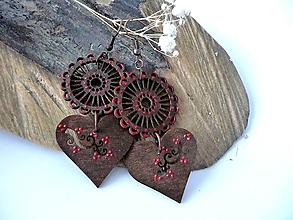 Náušnice - hnedo-bordové folk náušnice - 10366898_