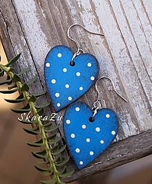 Náušnice - Simple heart dots // Blue - 10367532_