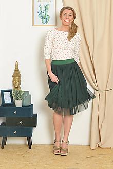 Sukne - Sukně ze splývavého tylu - smaragdová 71b98c1796