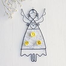 Detské doplnky - anjelik s kvetmi (Žltá) - 10373051_