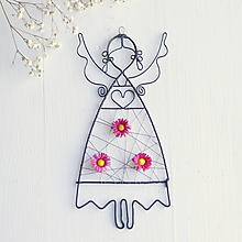 Detské doplnky - anjelik s kvetmi (Ružová) - 10373072_