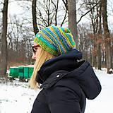 Zelená melírová čiapka