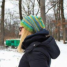 Čiapky - Zelená melírová čiapka - 10372411_