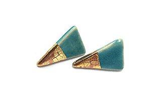 Náušnice - Naušničky - keramika/zlato - 10373180_