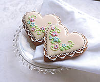 Darčeky pre svadobčanov - Medovníkové srdiečko smotanové - 10372311_