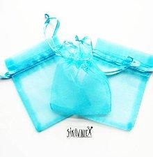 Obalový materiál - Organzové vrecko - 7x9 cm, svetlá modrá - tyrkysová - 10371151_