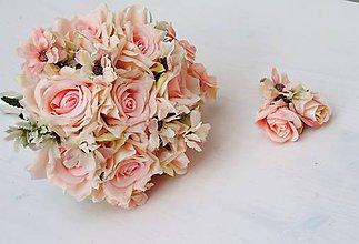 Kytice pre nevestu - Svadobná kytica pre nevestu marhuľovo-ružová - 10371295_