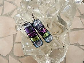 Náušnice - Silver-violet-pink-gold-silver - 10371824_