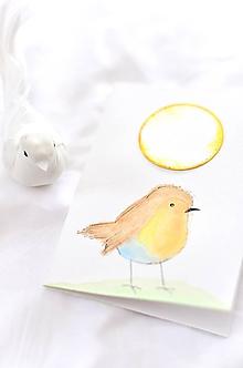 Papiernictvo - Maľovaná pohľadnica - vtáčik (Vtáčik so žlto-modrým bruškom) - 10371854_