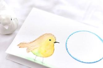 Papiernictvo - Maľovaná pohľadnica - vtáčik (Vtáčik so žlto-zeleným bruškom) - 10371859_