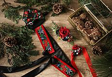 Opasky - Čierno-červený folk set (opasok, náramok, polvenček, motýlik, vreckovka do saka) - 10370840_