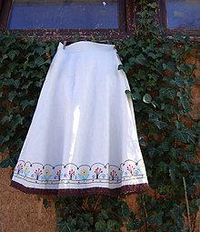 Sukne - Ľanová sukňa ručne vyšívaná - 10373100_