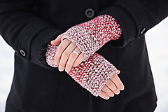 Rukavice - Ružovo-bordové rukavice - 10373157_