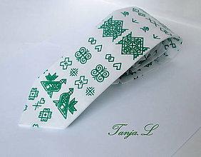 Doplnky - zelená kravata folk čičmany - 10372354_