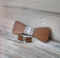 """Doplnky - Sada drevený motýlik """"Svadba"""" - tmavý - 10372360_"""