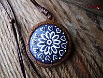 Náhrdelníky - Náhrdelník Modrotlač so srdiečkami - 10371243_