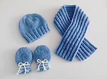 Detské súpravy - Štrikovaný set pre bábätká modrý - 10370875_