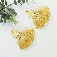 Náušnice - Zlaté náušnice so strapčekmi - horčicové, mosadz - 10373329_