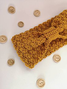 Čiapky - Háčkovaná čelenka MISTY (65% vlna & 35% alpaka) (horčicová žltá) - 10374538_