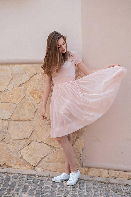 Šaty - Šaty s riasenou sukňou ružové ROSE COLLECTION ( pôvodná cena 69 € )   - 10374562_
