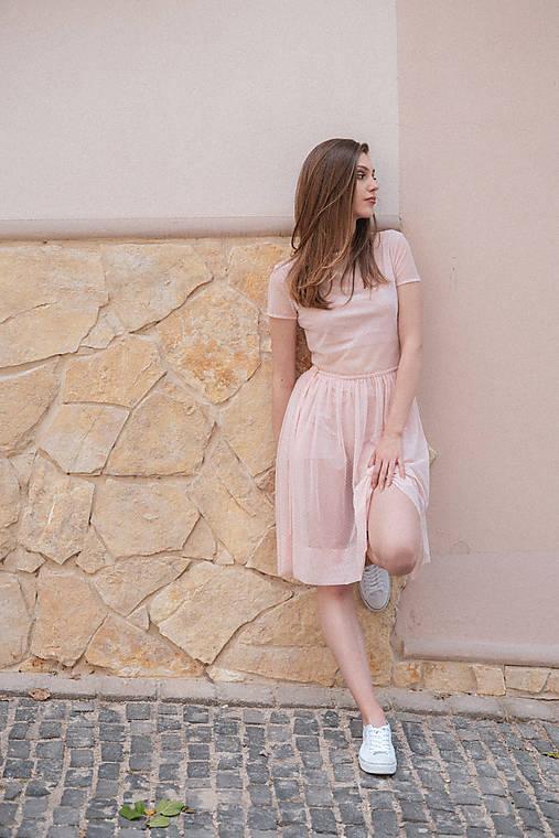 Šaty s riasenou sukňou ružové ROSE COLLECTION ( pôvodná cena 69 € )
