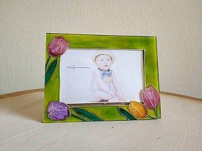Rámiky - Fotorám sklomaľba tulipány - 10372627_