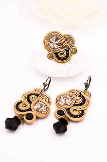 Sady šperkov - Soutache sada v zlatej farbe - prsteň a náušnice - 10373143_