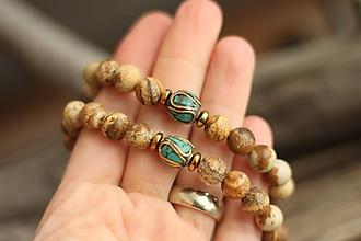 Náramky - Partnerské náramky z minerálu jaspis a korálok z Nepálu - 10370934_
