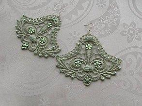 Náušnice - Pastelová zelená - 10372950_