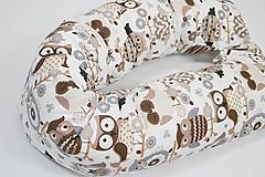 Textil - Tehotenský vankúš / Vankúš na dojčenie Hnedé sovičky - 10376404_