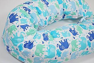 Textil - Tehotenský vankúš / Vankúš na dojčenie mentolovo-modrý so sloníkmi - 10376432_