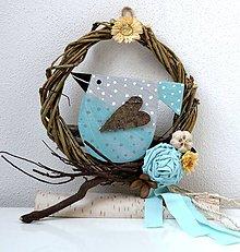 Dekorácie - Venček na dvere s vtáčikom - 10375604_