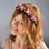 Kvetinová čelenka Ružovo-biela