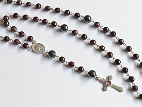 Iné šperky - RŮŽENEC - GRANÁT - HEMATIT - 10374930_