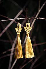 Náušnice - Strapcové - zlato-horčicové soutache earring - šujtášové náušnice  - 10378163_