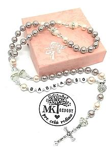 Náhrdelníky - Ruženec perličkový s textom (Sivofialovo-ružovkastý) - 10375491_
