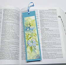 Papiernictvo - Maľovaná záložka - séria Nezábudky 1 - 10376914_