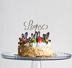 Dekorácie - Love drevený zápich na tortu - 10378537_