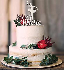 Dekorácie - Baletka na tortu s menom - 10378543_