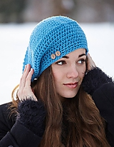 Čiapky - Modrá baretka - 10377568_