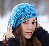 Čiapky - Modrá baretka - 10377569_