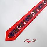 Doplnky - folklórna červená kravata SLIM - 10377337_